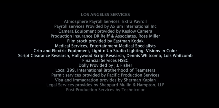 Credits from the movie Julia (2009) showing some credits from Los Angeles