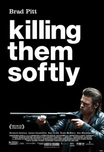Theatrical poster for the 2012 crime drama, Killing Them Softly, starring Brad Pitt and James Gandolfini. Directed by Andrew Dominik.