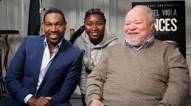 Pictured left to right: Mykelti Williamson, Samiat Salami and Stephen Henderson, for an interview about Mykelti and Stephen's roles in the 2016 Denzel Washington film, Fences.