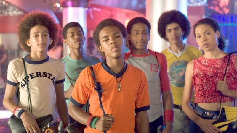 An ensemble shot of the cast of the 2005 movie, Roll Bounce, starring Shad Moss, aka Bow Wow.