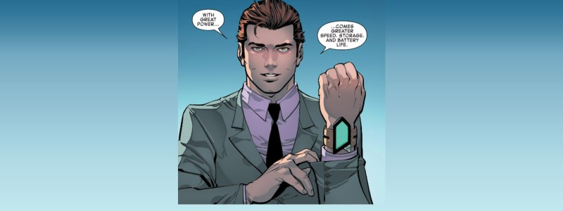 Pictured: Peter Parker, aka Spider-Man, making a pithy quip about his technology in a panel from a Spider-Man comic.