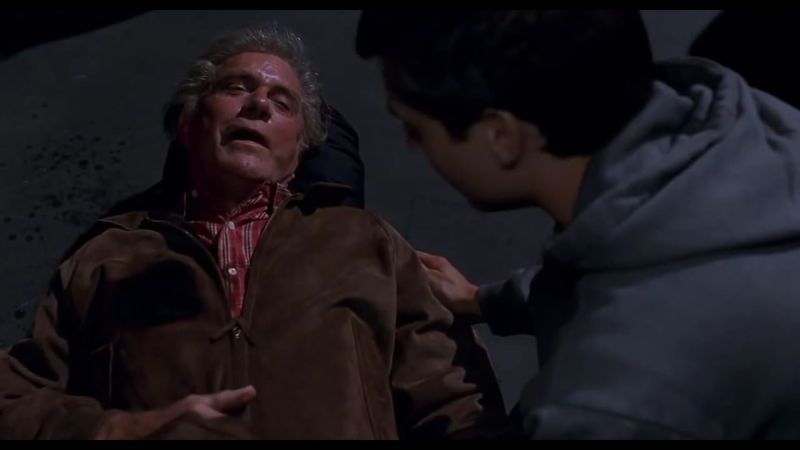 Pictured: Uncle Ben dying in a scene from Sam Raimi's 2002 superhero film, Spider-Man.