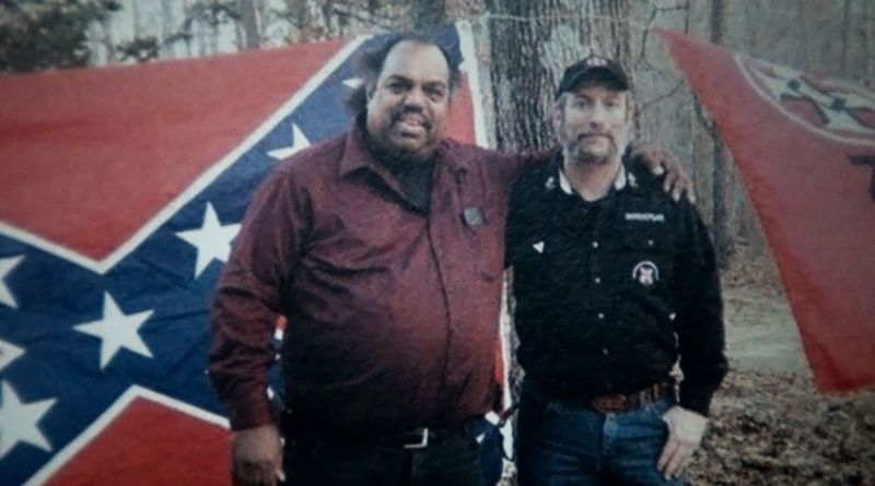 Daryl Davis posing with a Klansman in a picture from the 2016 political documentary, Accidental Courtesy.
