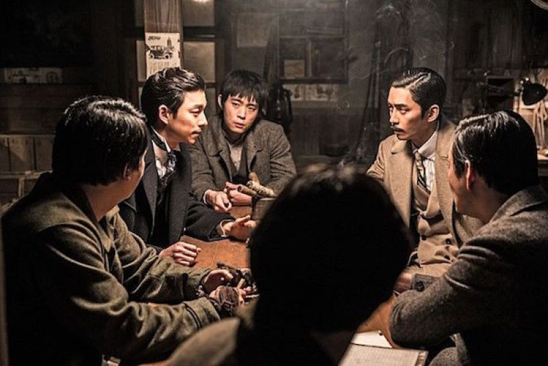 Kim Woo-jin (Gong Yoo) and other resistance fighters in a scene from the 2016 Kim Jee-woon spy thriller, Age of Shadows.