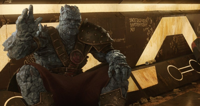 Pictured: Taika Waititi as Korg in the 2017 Disney Marvel film directed by Waititi, Thor: Ragnarok.