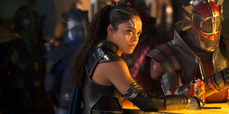 Pictured: Tessa Thompson as Valkyrie in the 2017 Marvel Disney film by Taika Waititi, Thor: Ragnarok.