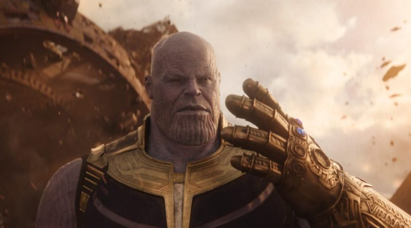 Josh Brolin as Thanos in a scene from the 2018 superhero film, Avengers: Infinity War.