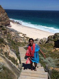 Climbing up from the lovely beach at Cape Point!
