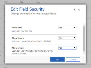 Apply permissions with field security