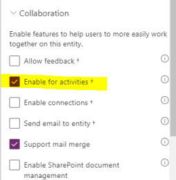 enabling a custom entity for activities on make.powerapps.com