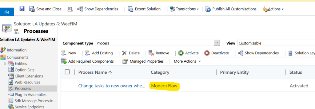 Solution manager showing processes