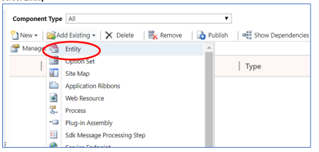 Adding an existing Entity to a Solution file.