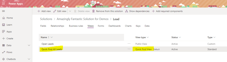 Add the Quick Find View to your Solution file at make.powerapps.com