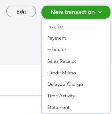 Client Transaction menu