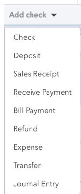 Bank Account Transaction menu