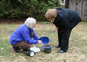 Certified Guide Susan Bryant provides a Well Aware Check-up to a private well owner.