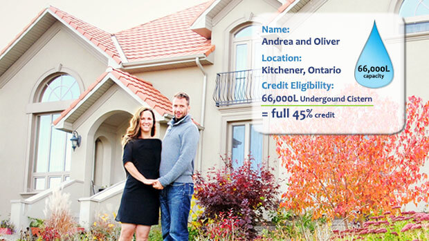 Names: Andrea and Oliver; Location: Kitchener, Ontario; Credit Eligibility: 66,000L Underground Cistern = full 45% credit