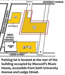 Parking lot is located at the rear of the building occupied by Maxwell's Music House, accessible from both University Avenue and Lodge Street.