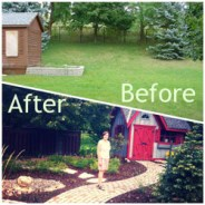 Before and After shots of the backyard
