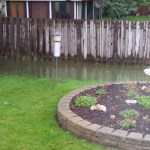 Tim and Heidi's flooded backyard