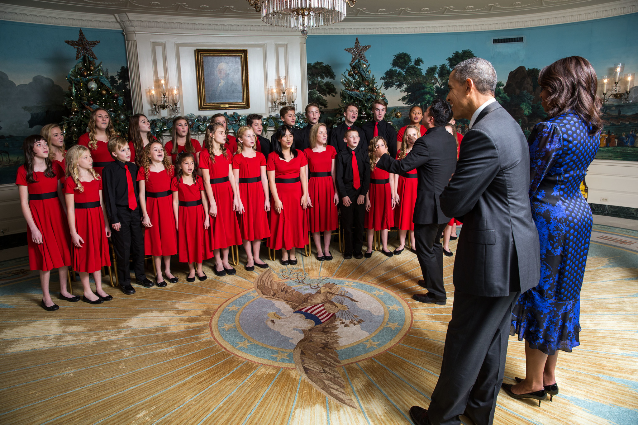 Reese and One Voice Children's Choir singing for President Obama and the first lady, Michelle Obama