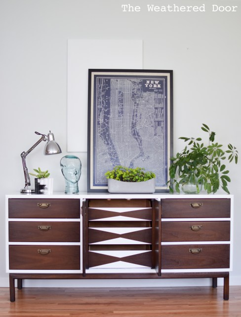 broyhill premier credenza with geometric drawers WD-20