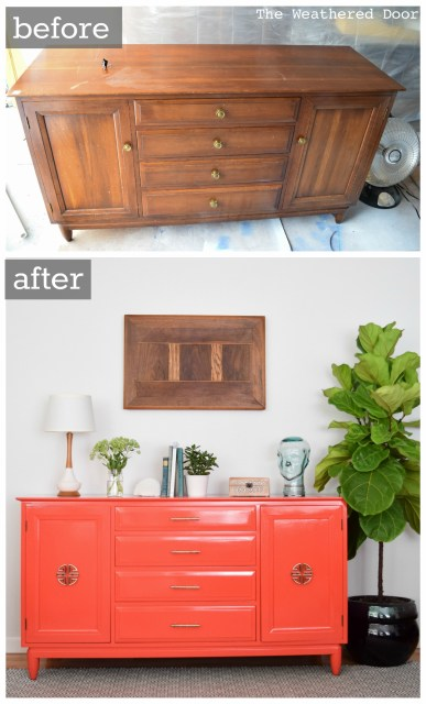 Willett Salsa buffet-dresser-credenza high gloss modern makeover before and after from The Weathered Door