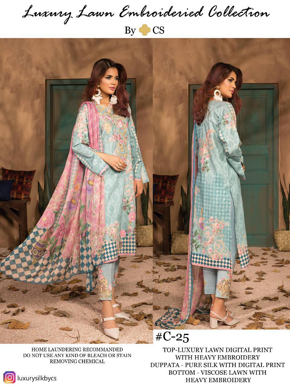 af7a52635b LUXURY LAWN EMBROIDERED COLLECTION VOL-7 BY CS 25 TO 26 SERIES DESIGNER  PAKISTANI SUITS COLORFUL STYLISH FANCY BEAUTIFUL COLLECTION CASUAL WEAR &  ETHNIC ...