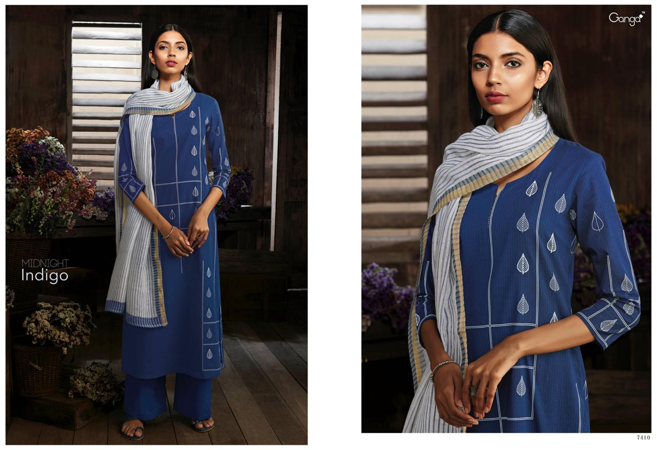 7802f0e61b MIDNIGHT INDIGO BY GANGA FASHION 7410 TO 7418 SERIES SUITS BEAUTIFUL  STYLISH FANCY COLORFUL PARTY WEAR & OCCASIONAL WEAR SUPERIOR COTTON PRINTED  DRESSES AT ...