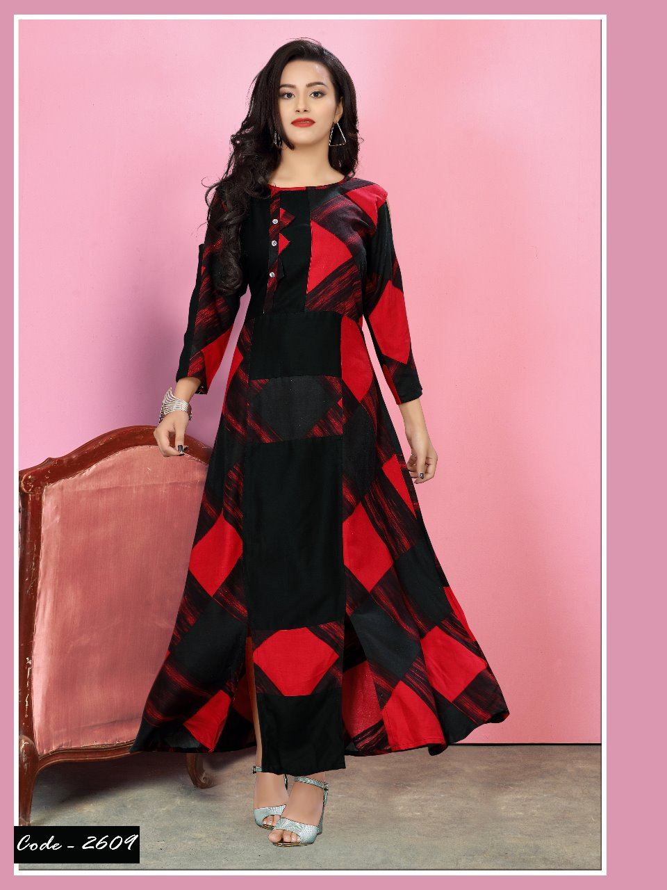 6f28ccfcfa WATERMELON HARMONY LONG DESIGNER FANCY CUT RAYON KURTIS WHOLESALE AT SURAT