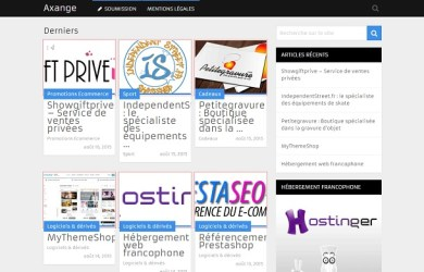 Capture d'écran de l'annuaire de boutiques en ligne Axange.fr