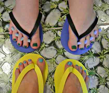 Painted toenails aren't just for women.  ;)