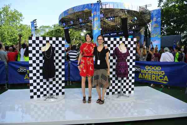 Jillian and Erin on Good Morning America in central park
