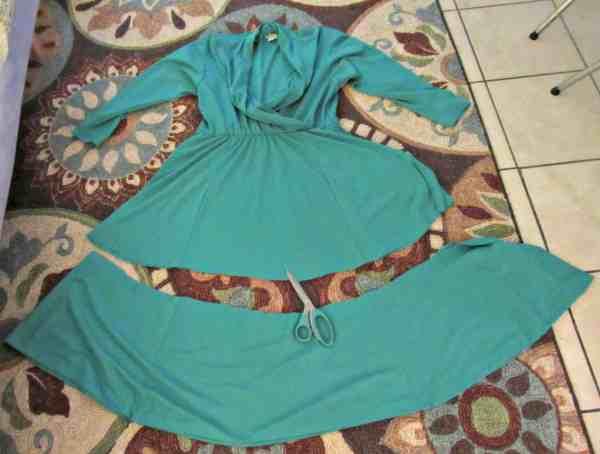 Chopping off bottom hem of thrift store dress