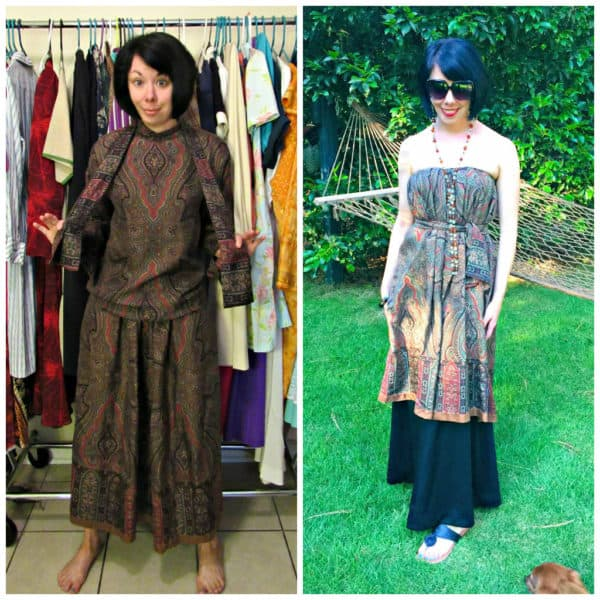 From 3 to 1: An Easy No-Sew Skirt to Dress Refashion 1