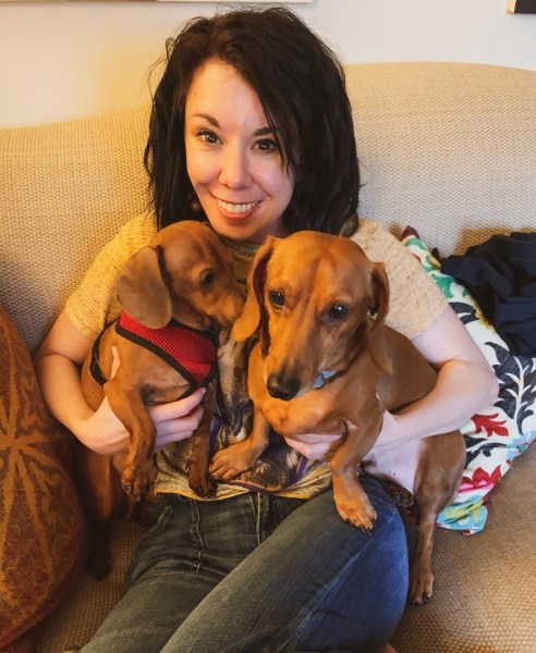 refashionista with dachshunds