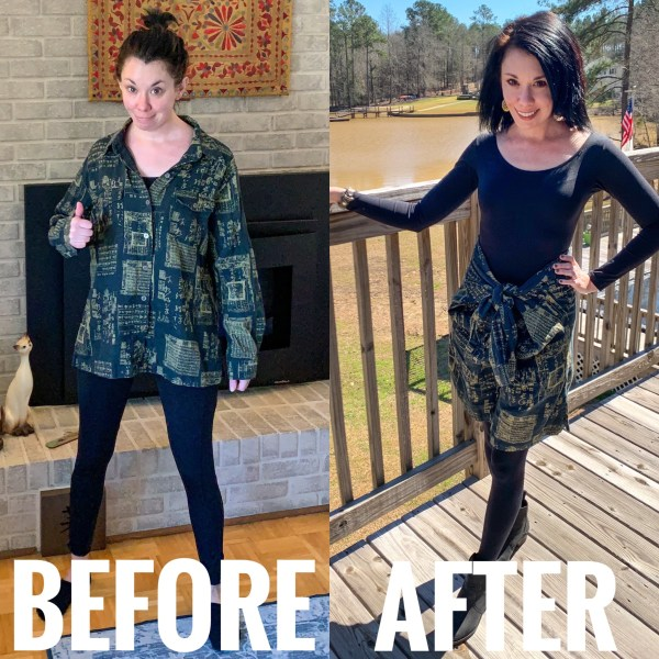 refashionista button up shirt to skirt no sew refashion before and after main image