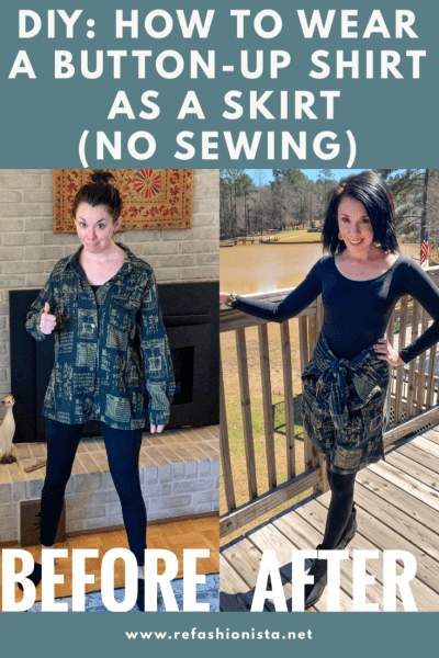 refashionista button up shirt to skirt no sew refashion before and after