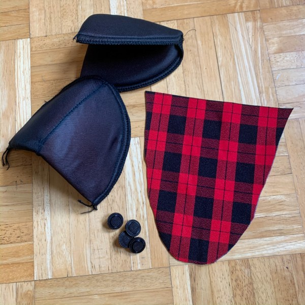 shoulder pads and buttons from refashion