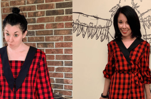 A Rad Plaid Refashion: How to Take In a Dress From the Front 16
