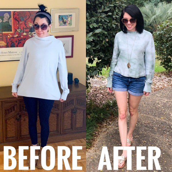 refashionista bowl dye cropped sweater before and after