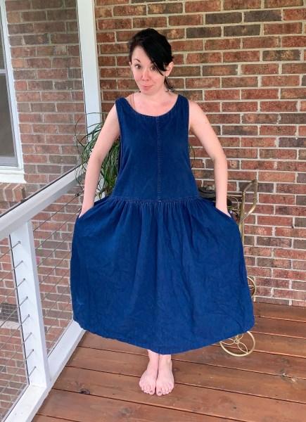 90s jumper dress before refashion