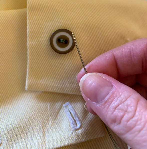 sewing on button