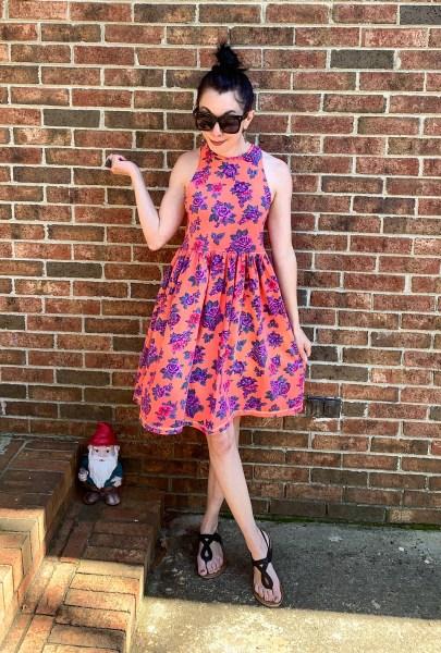 An Overdyed Floral Halter Dress DIY Refashion After