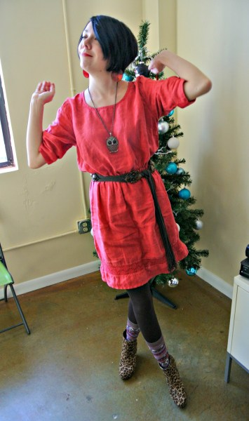 refashionista how to add elastic waist to dress after with belt