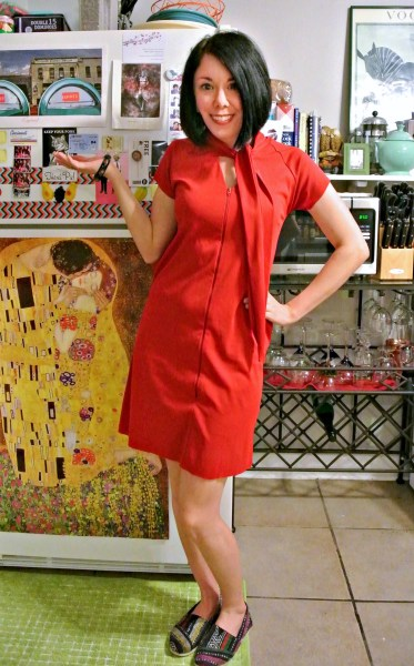 Housecoat to '60s Inspired Dress Refashion  after