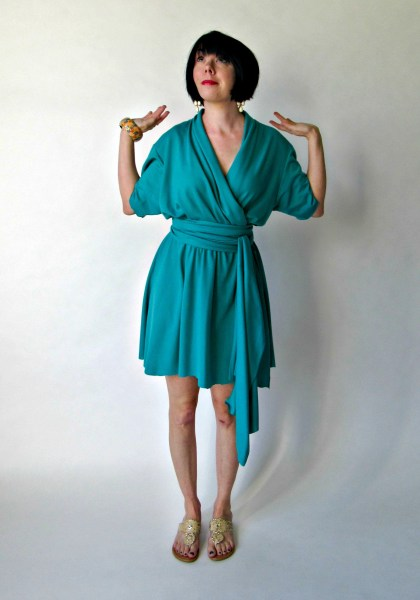 no sew thrift store dress refashion after