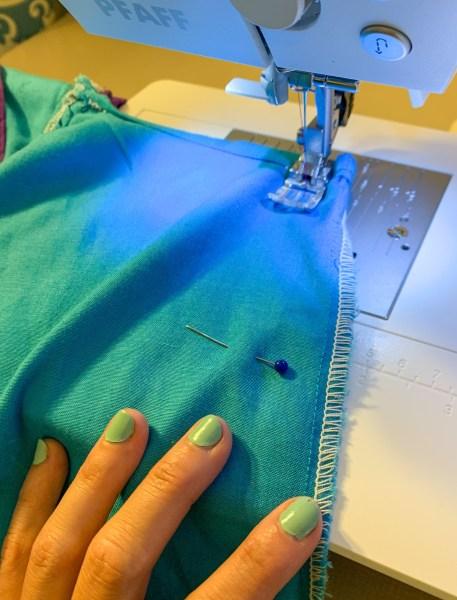 sewing down side of muumuu