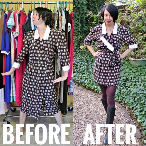 refashionista cameo dress refashion before and after