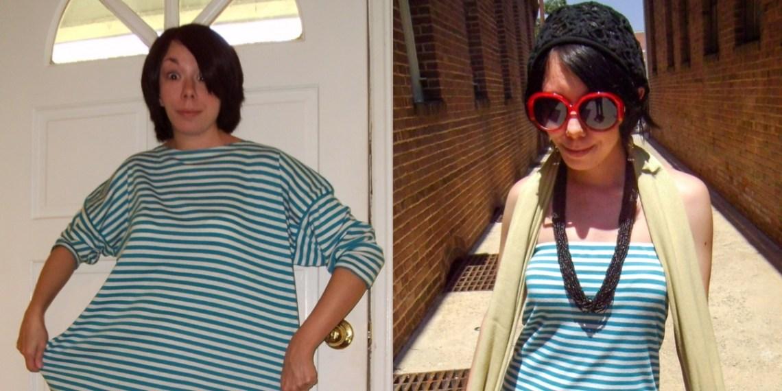 Day 48: A Stripey DIY Strapless Dress Refashion 4